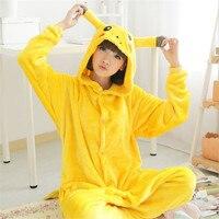 Adult Unisex Pajamas Animal Pyjama Combinaison Animal Pikachu Full Sleeve Hooded Polyester Pajama Sets Pokemon Adult