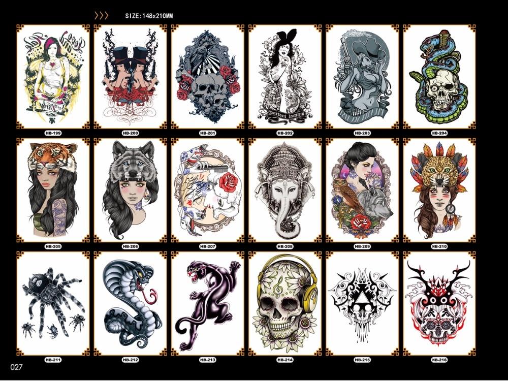 fashionable wolf tattoo water print beauty snake tiger pattern arm leg shoulder sticker body art makeup men fake tatoo sleeve