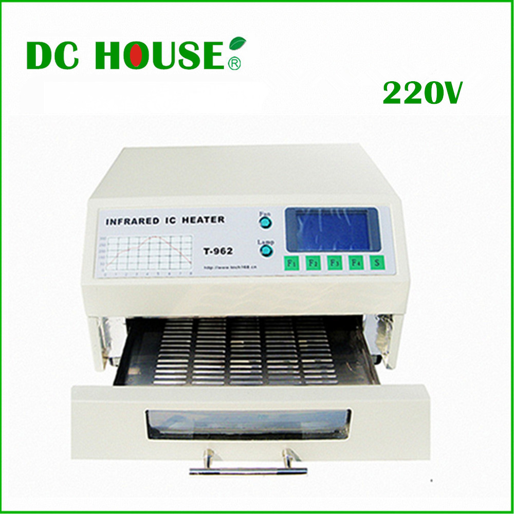 EU Stock T-962 220V Desktop Reflow Oven Infrared IC Heater Soldering Machine 800W 180 x 235mm T962 for BGA SMD SMT Rework