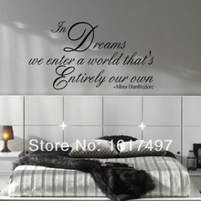 LARGE size 95x53cm HARRY POTTER QUOTE DREAMS ENTER OWN WORLD WALL DECAL STICKER ART TRANSFER free shipping m2032(China (Mainland))