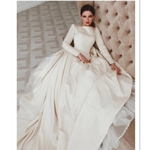 Eslieb 2019 Italy chapel train wedding dresses long sleeves