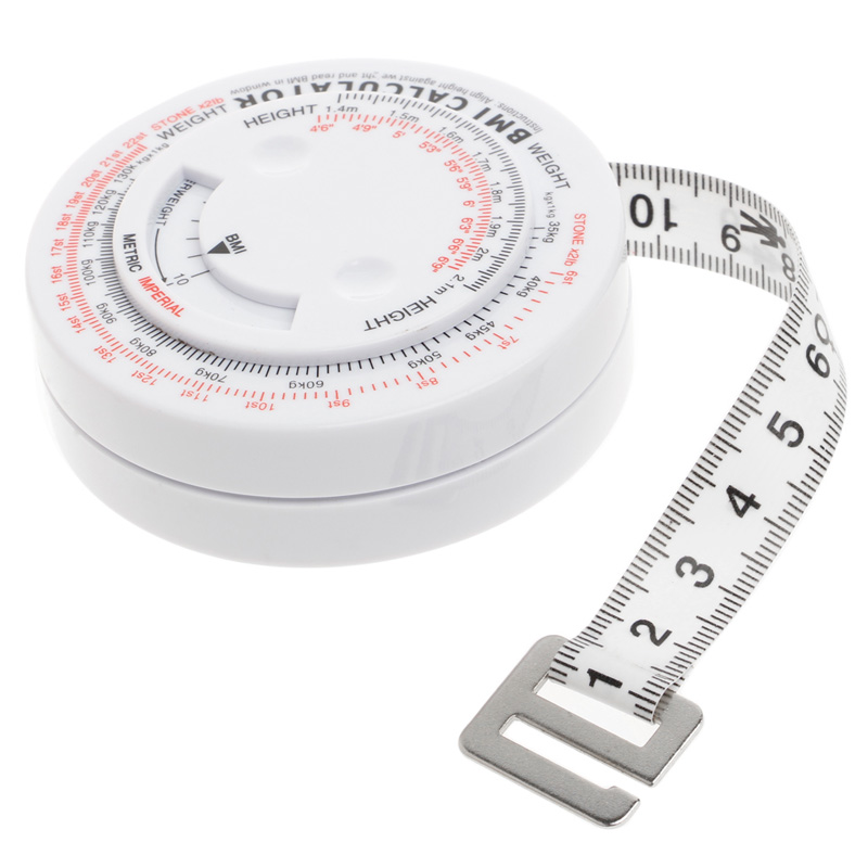 BMI Body Mass Index Retractable Tape 150cm Measure Calculator Diet Weight Loss Tape Meas ...