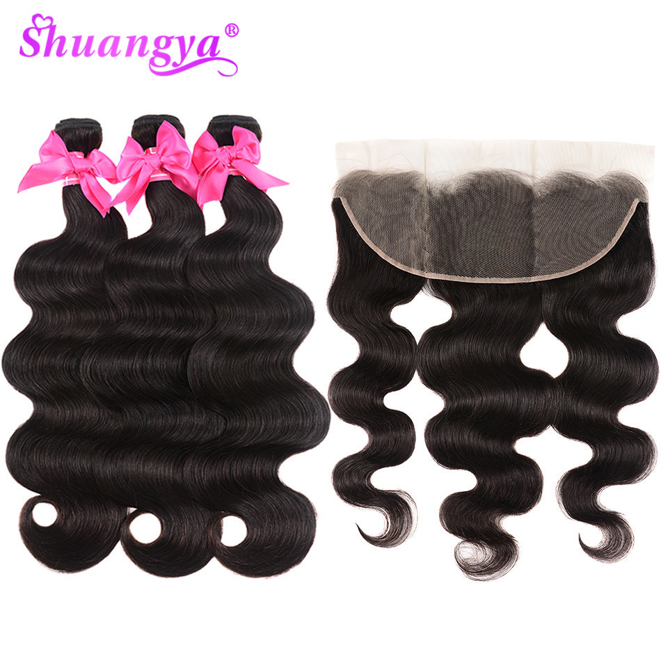 Shuangya Remy Human Hair Malaysian Body Wave 3 4 Bundles With Frontal Closure13 4 Ear To