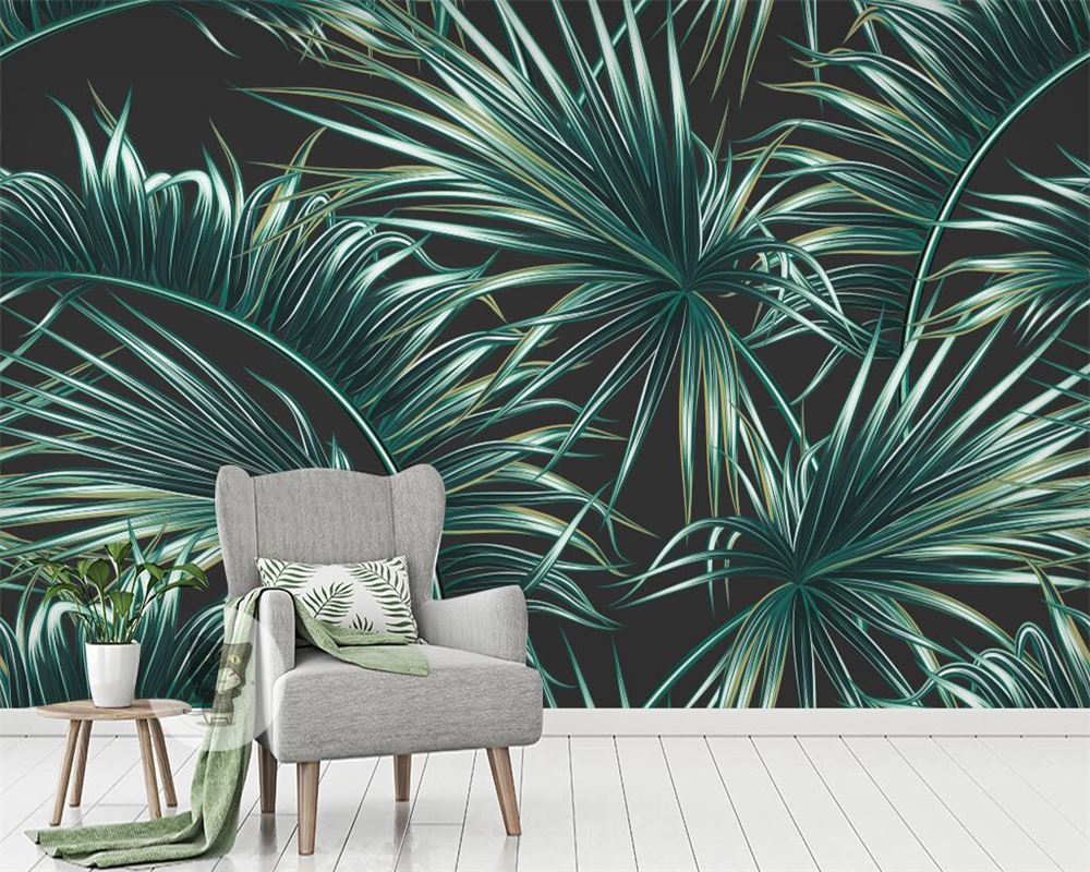 Beibehang Custom wallpaper fresh green leaves tropical plants frescoes home decoration living room bedroom TV mural 3d wallpaper free shipping marble texture parquet flooring 3d floor home decoration self adhesive mural baby room bedroom wallpaper mural