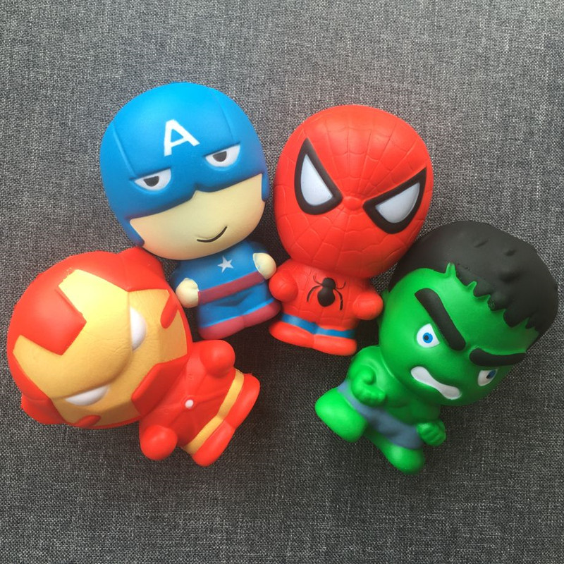 4pcs The Avengers Squishy Slow Rising Iron Man Captain America Spiderman Squishy Toy Super hero Squishies an-stress Toys lady bug dolls