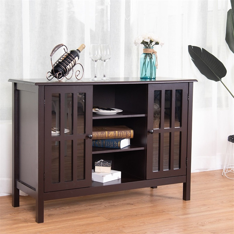 Simple Stylish Solid MDF Wood TV Stand Console Cabinet Living Room Furniture Tempered Glass Pine Window Open Shelves HW56274BN