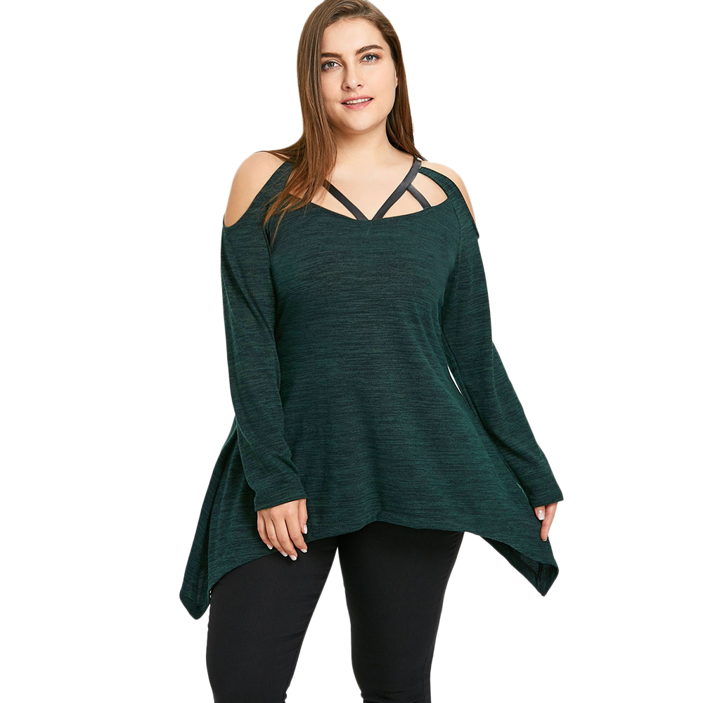 Gamiss Women Spring Plus Size 5XL Asymmetric Caged Strappy Tops Casual Long  Sleeves Sexy V Neck T-Shirt Women Clothing Tops 21115114a78e