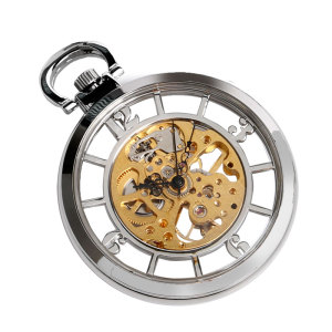 Image 4 - New Arrival Silver Open Face Dial Skeleton Pocket Watch Mechanical Hand Wind Fob Clock  Necklace Accessory Relogio De Bolso