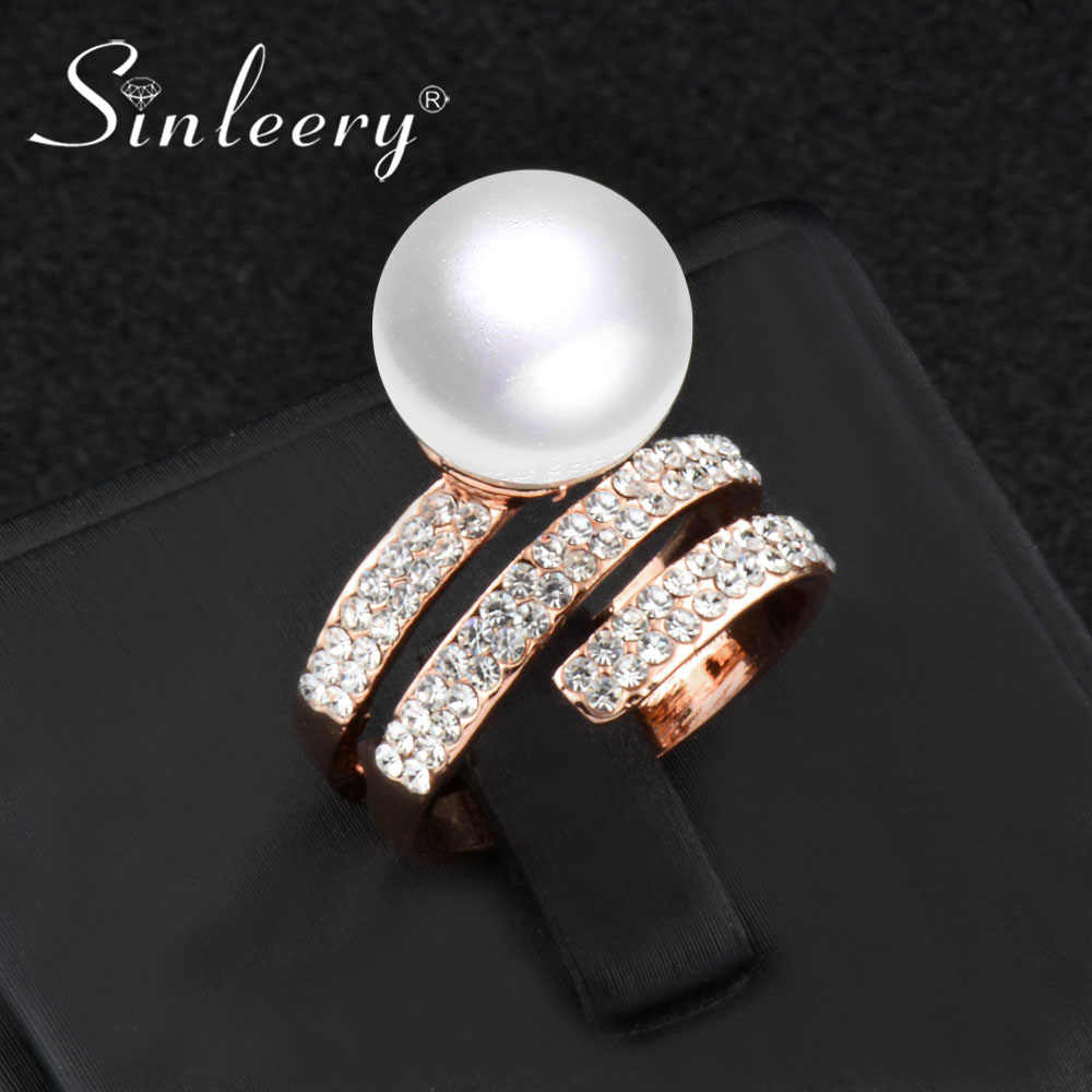 SINLEERY Fashion Simulated Pearl Rings Silver Rose Gold Color Zirconia Micro Paved Rings for Women New Anel Feminino JZ558 SSI