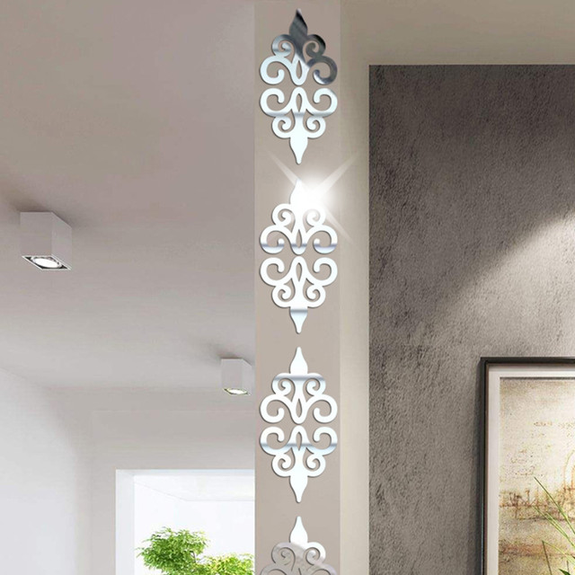 10PC רב גודל כיכר עצמי דבק אריחי 3d מראה קיר מדבקות מדבקות פסיפס עיצוב הבית סלון מרפסת פוסטר קיר A1