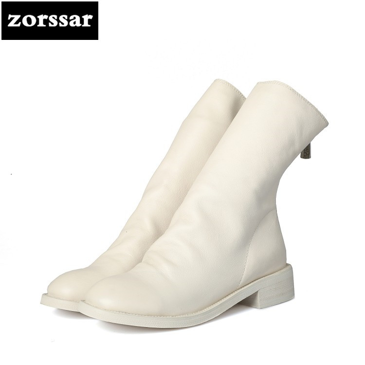 {Zorssar} 2018 New Genuine Leather flat ankle boots for Women riding boots winter shoes zapatos mujer botas invierno Big Size 43 zorssar winter fur female boots flat heel ankle boots genuine leather platform shoes boots women booties botas mujer invierno
