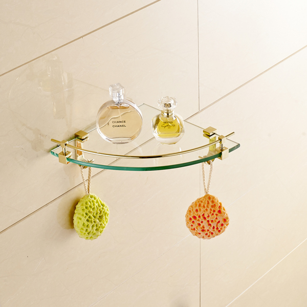 Wall Mounted Single Tier Bath Glass Holder Corner Storage Shelf Gold Finish стоимость