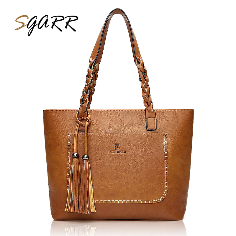 SGARR Famous Brand Women Bag Female Luxury Leather Pu Handbag Casual Tote Bag Lady Tassel Female Vintage Brown Crossbody Bags jooz brand luxury belts solid pu leather women handbag 3 pcs composite bags set female shoulder crossbody bag lady purse clutch