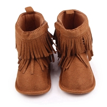 Купить с кэшбэком Baby Boots Girls Boys Winter Snow Boots Newborn Infant Toddler Brown shoes Cute Fringe Design Antiskid Sole for Babies