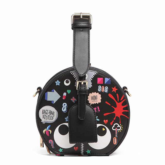 Leather Small Round Bag Women Round Handbags Cute Circular Women Shoulder  Bag Mini Street Party Bag Small Circle Cross Body Bag