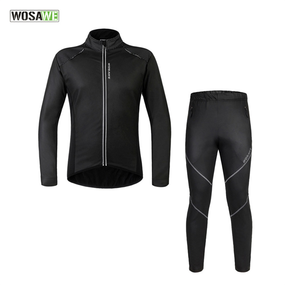 WOSAWE Winter MTB Cycling Jersey Set Running Tights Women Cycling Set Clothing Pants Windproof Thermal Long-Sleeved Riding Suit