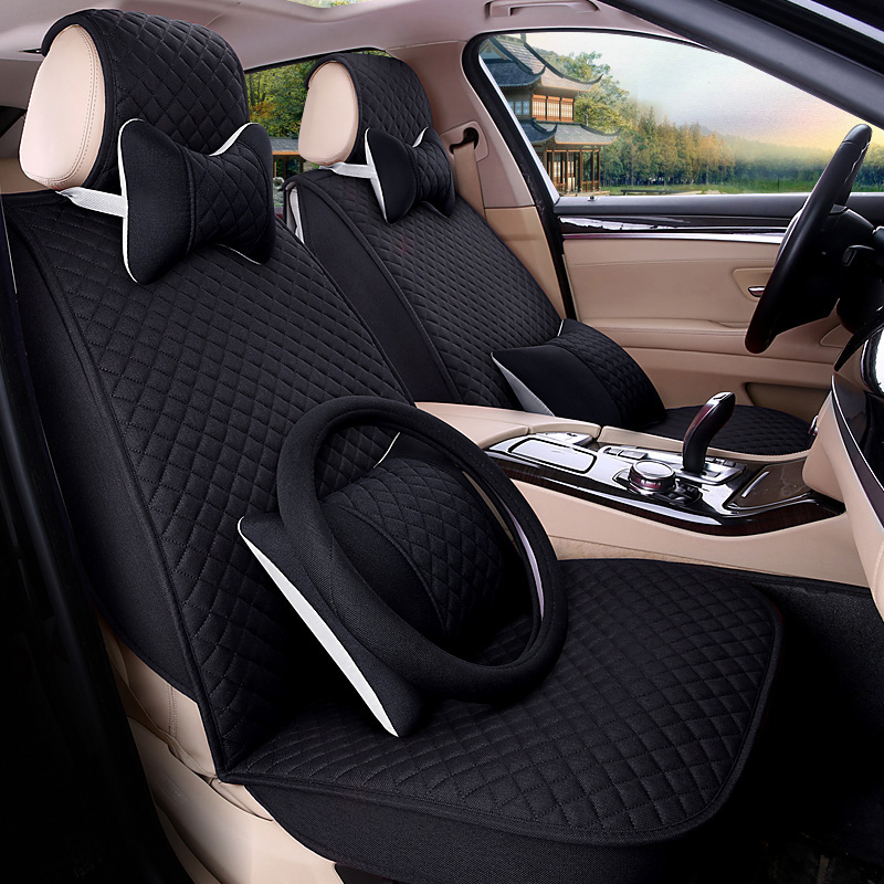 5 seats/set breathable flax car seat covers protector for mazda3 f30 honda civic vw toyota auto cushions interior accessories цена 2017