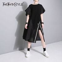 TWOTWINSTYLE Ruffles T Shirt Women O Neck Flare Short Sleeve Patchwork Asymmetrical T Shirts Top Summer 2018 Fashion New Clothes