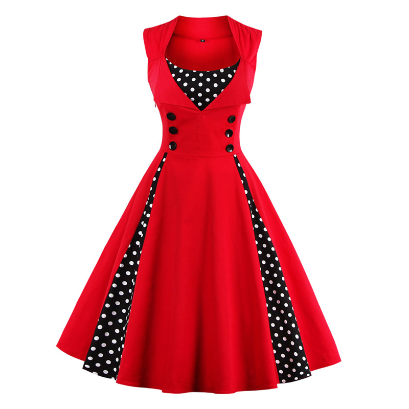 Womens red vintage dress polka dots patchwork 50s 60s 70s for Wedding party dress up