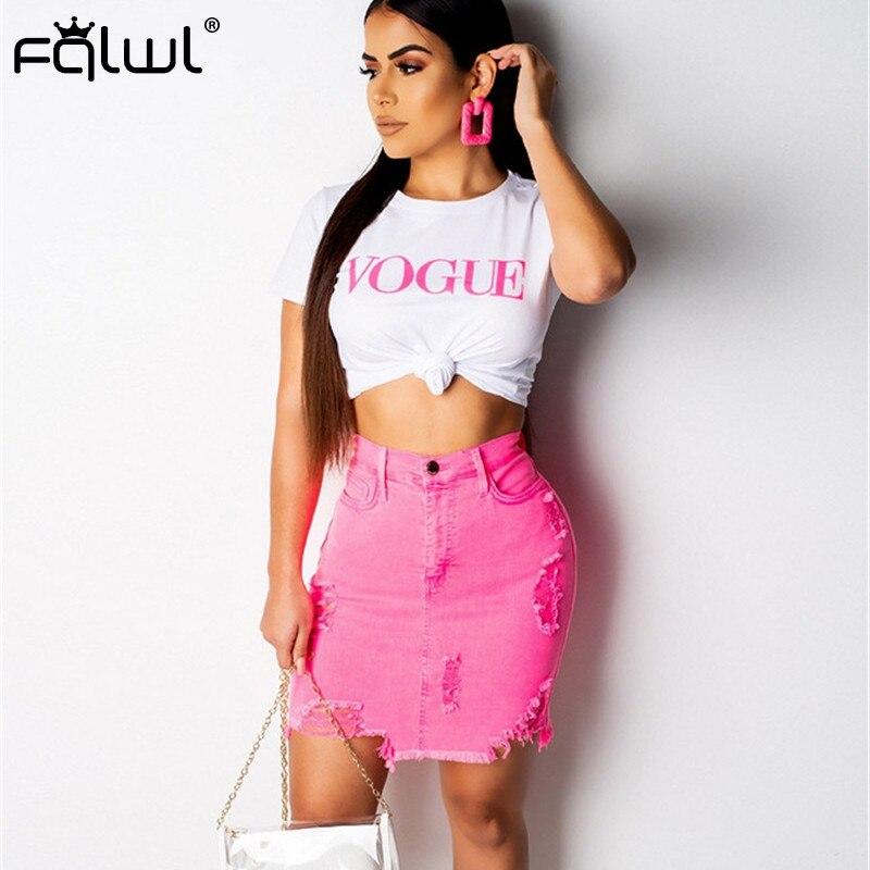 FQLWL Streetwear Denim Summer Skirt Jeans Hole Pink High Waist Bodycon Mini Skirts Womens Skater Sexy Club Short Skirt Pencil