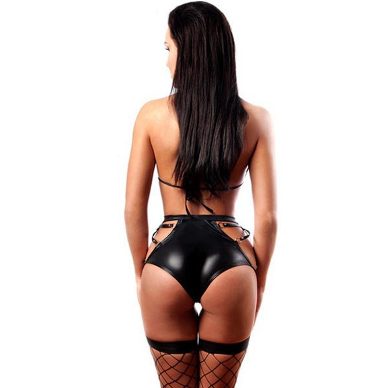 Sexy Black wetlook micro bikini Set Exotic Apparel clubwear leather bra set Underwear Lingerie pvc fetish latex Catsuit costumes