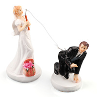 Fishing Bride Groom Couple Figurine Wedding Cake Models Toppers Decoration Resin DIY Model kits