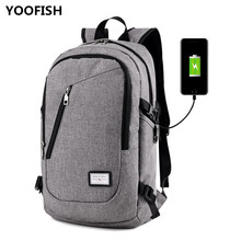 YOOFISH Business Canvas bag USB Charging bag Hot sale Large capacity Anti Theft Teenage College Travel Backpack Free shipping.