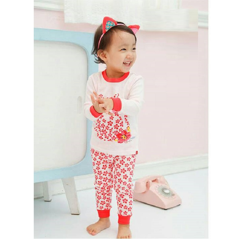 Hot Pink Cat Baby Girls Pajamas 100% Cotton Autumn Long Sleeve 2 3 4 5 6 7 Years Children PJ'S Boys Pijama Girl Home Clothes 3