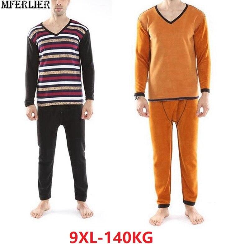 Hiver hommes sous-vêtements Long Johns sous-vêtements hauts bas rayure polaire grande taille sous-vêtement thermique épais chaud 7XL 8XL 9XL 54 52