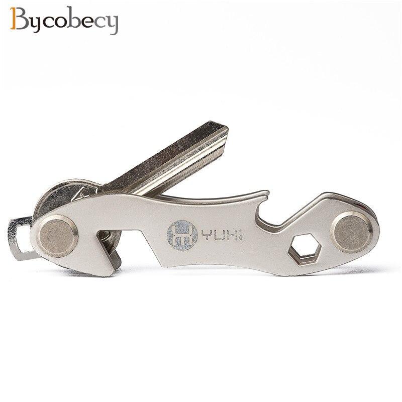 BYCOBECY New 2018 Metal Key Wallet DIY EDC Organize Smart Ring Wallets Car Keys Holder Housekeeper Key Chain Bottle Opener Gift paulone outdoor compass edc tools key chain metal key ring спортивные крючки
