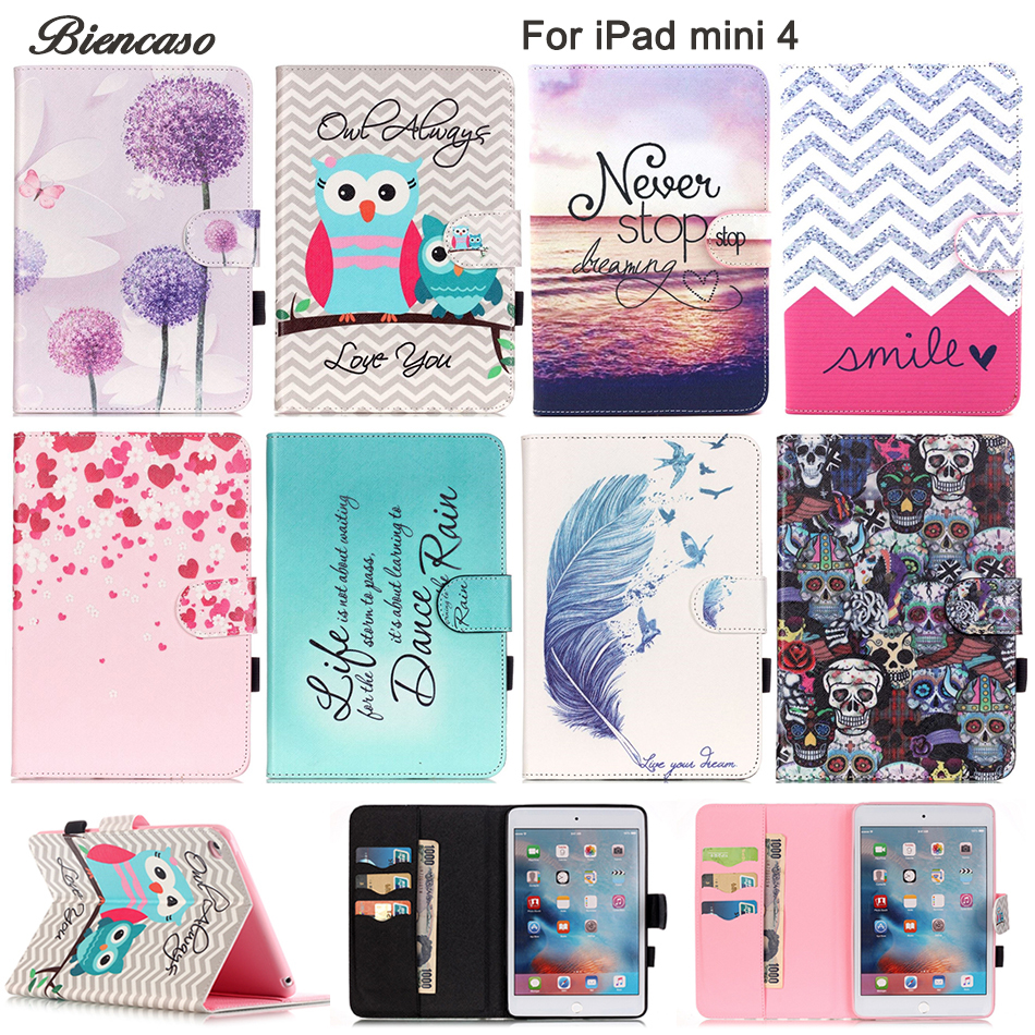 Biencaso PU Leather Flip Case For Apple iPad mini 4 7.9 Original Smart Tablet Stand With Card Slot For iPad mini4 Cover B08