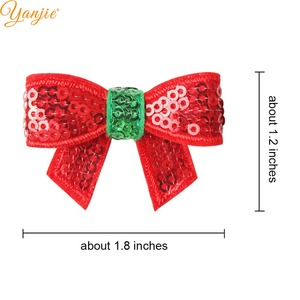 Image 2 - 100pcs/lot 1.8 Mini Sequin Bow Christmas Hairgrips Girls 2019 Christmas DIY Hair Accessories For Headband Kids Hair Bows Clips