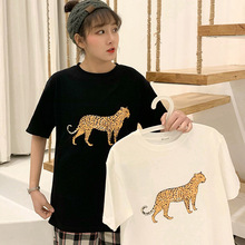 M combed cotton animal leopard print 2019 summer round neck loose short-sleeved T-shirt