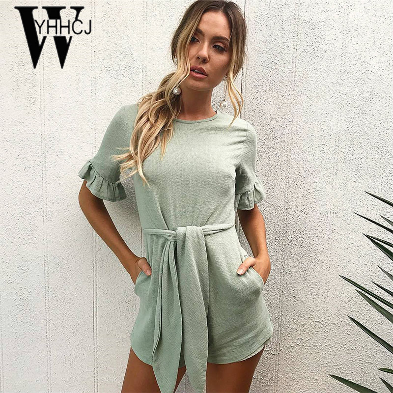 WYHHCJ 2018 new casual ruffles summer women playsuit short sleeve bodycon solid jumpsuit lace up pockets bodysuit rompers femme
