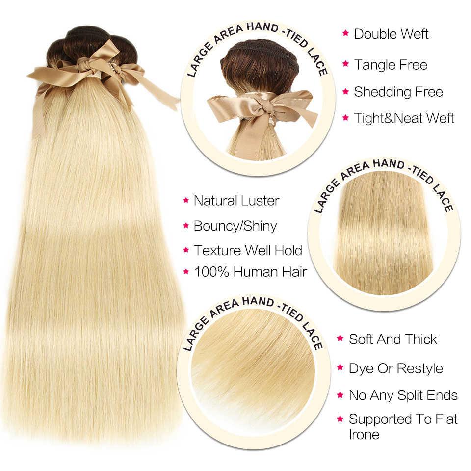 Czarne perły Ombre wiązki z zamknięciem peruwiańskie proste włosy 613 miód blond zestawy z zamknięciem Remy 613 przedłużanie włosów