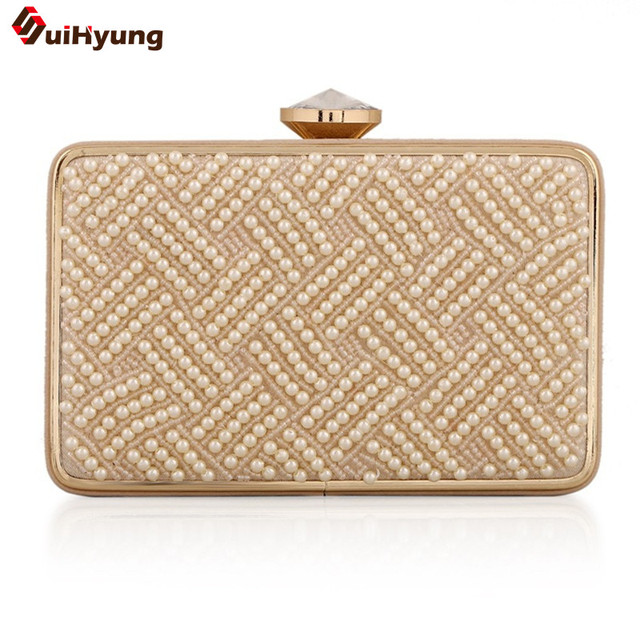 New Fashion Women PU Leather Day Clutches Beige Beaded Wedding Purse With Shoulder Chain Handbag Lady Pearl Crystal Evening Bag