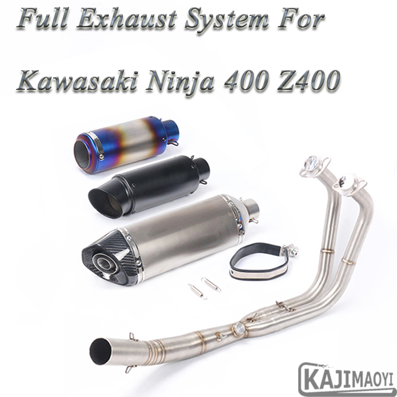 Motorcycle Exhaust System Slip-On Middle Pipe Muffle For Kawasaki Ninja 400 2018
