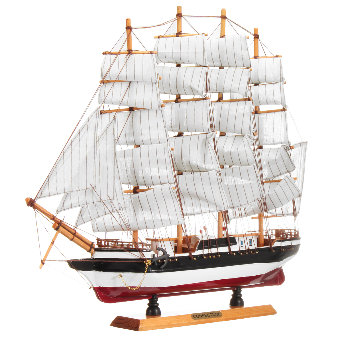 50cm*9cm*44cm Wooden Ship Sailing Boat Sailboat Model DIY Kit Assembly Ocean Home Decoration