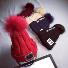 2016 beanie hats ladies spring and autumn patch letters hair ball knitted hat Men's Winter Hats thick warm Beanies balaclava