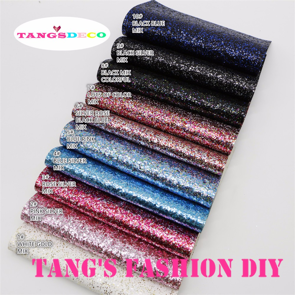 30 PCS/SET--20X22CM PER PCS DIY High Quality CHUNKY Glitter color mix Leather&Fabric/Synthetic leather can choose color