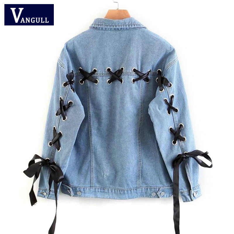 Spring Blue Lace Up Lattice Eyelets Back Classic Basic Denim Jacket New Style Single Breasted Casual Solid Women Loose Jean Coat
