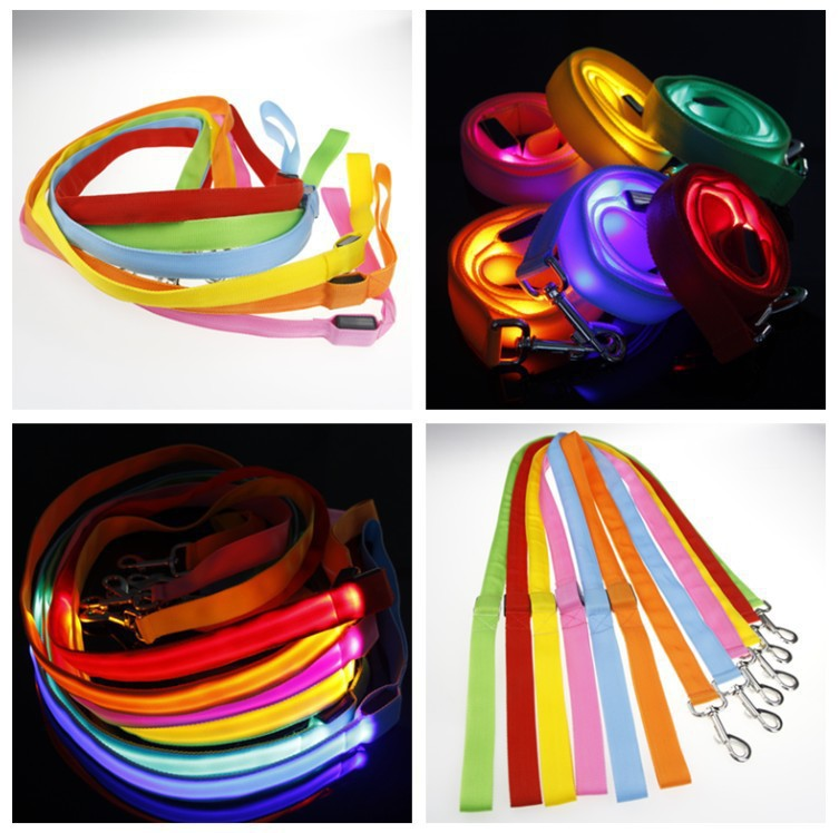 120cm Nylon Pet LED Dog Leash Night Safety LED Flashing Glow LED Pet Supplies Cat Dogs Drawing Small Leads for LED Dog Collar NW