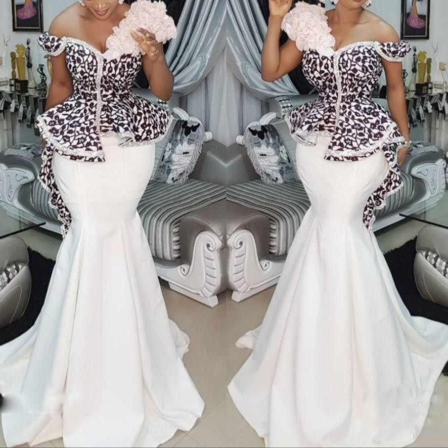 5861594d23d55 Plus Size Africa Mermaid Prom Dress 2018 One Shoulder Lace Peplum ...