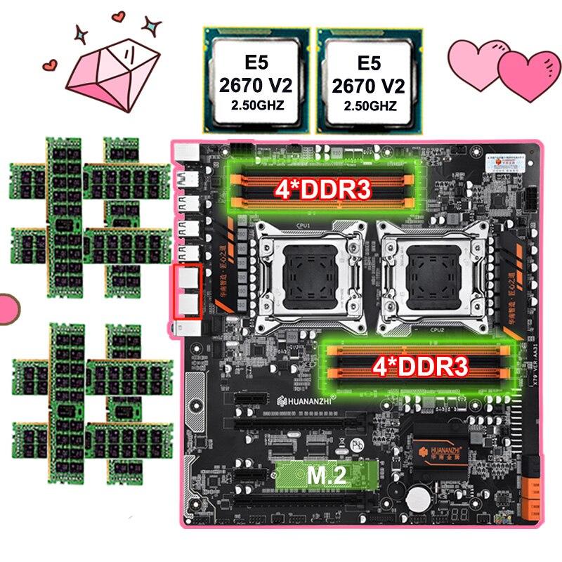 Carte mère avec M.2 slot HUANANZHI double X79 carte mère avec 8 DDR3 DIMMs double CPU Xeon E5 2670 V2 RAM 128G (8*16G) 1866 RECC