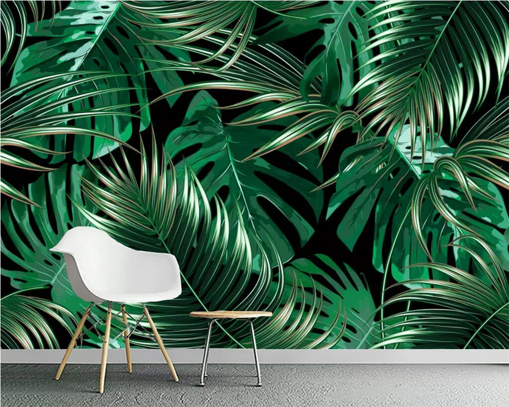 Beibehang Custom Wallpaper European Tropical Rainforest Plant Banana Leaf Living Room TV Background Wall Painting 3d Wallpaper