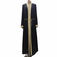 Plus size lace beading hit color muslim abaya Female Muslim Dress Cardigan Robes Worship Service clothes Wj2288 with belt
