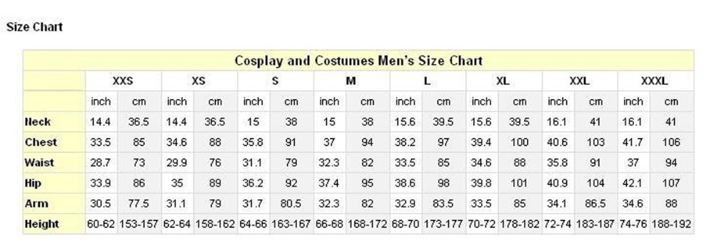 cosplay men\'s size chart-2
