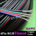 10 meter 22AWG WIRE & cable 4pin cabo RGB para RGB stirp estender fio de extensão de cabos de cobre Estanhado fio 4 cor livre de PVC grátis