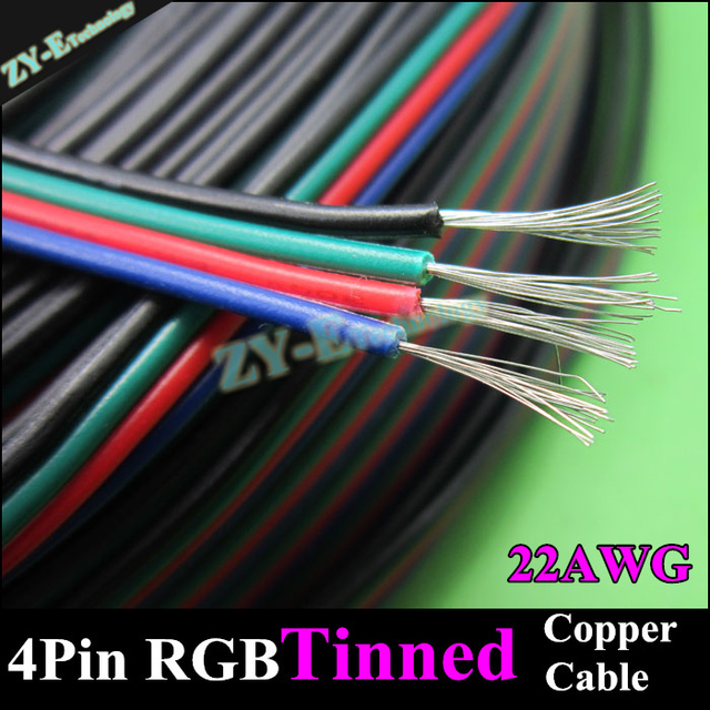 10meter 22AWG WIRE&cable 4pin RGB cable for RGB stirp extend Wire ...