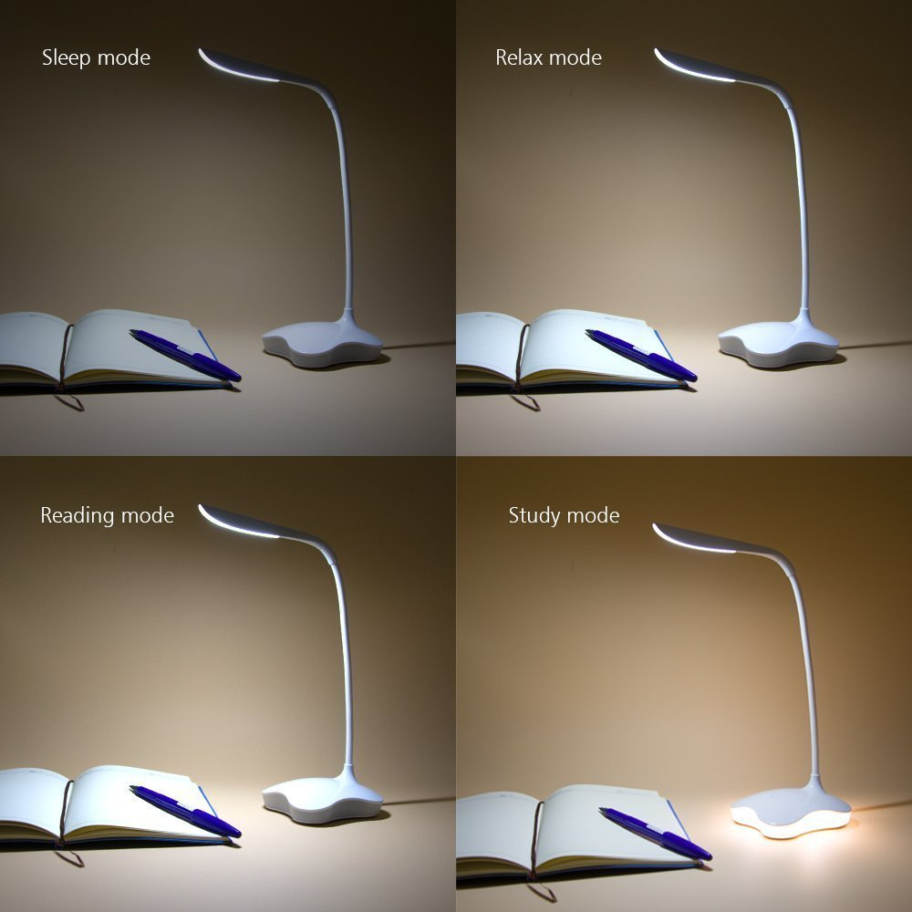 LED Desk Table Lamp Night Light Clover 3 Level Dimmable Auto Sensor Touch Wireless USB Rechargeable For Bedside Reading